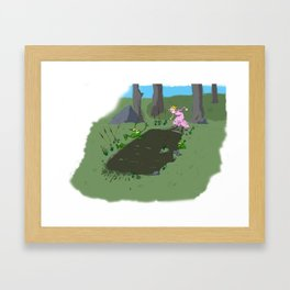 Long jump  competition. Framed Art Print