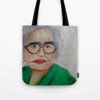 helen green Tote Bags featuring Chicken Hen Helen by Yvonne H Antonsen