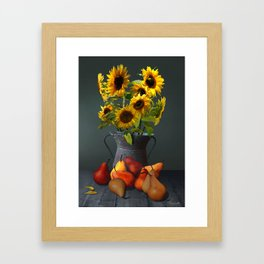 Pears and Sunflowers Framed Art Print