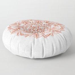 Rust Red Mandala on Japanese Rice Paper Floor Pillow