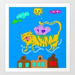 Amsterdam Flying Cat Art Print
