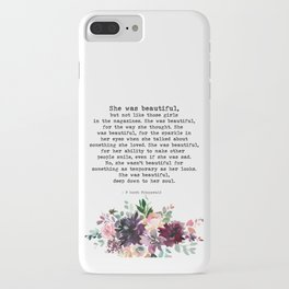 She Was Beautiful Floral Watercolor Art Print Inspiring Quote | F Scott Fitzgerald iPhone Case