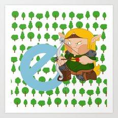 E for elf Art Print