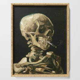Van Gogh Head of a skeleton with a burning cigarette Serving Tray