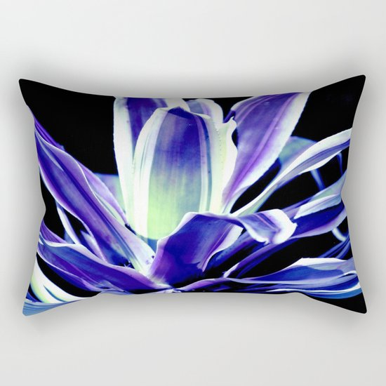 Indigo Blue Flower Rectangular Pillow