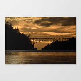 Deception Pass Bridge Sunset Canvas Print