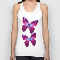 hot pink Tank Tops featuring The hot pink Butterfly by thea walstra