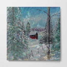 """Cabin In The Snow"" Metal Print"
