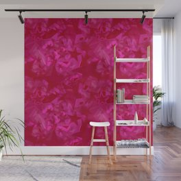 Calm intersecting purple stars on a pink background. Wall Mural