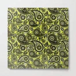 Pear Green Paisley Pattern Metal Print