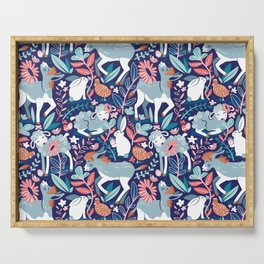Spring Joy // navy blue background pale blue lambs and donkeys coral and teal garden Serving Tray