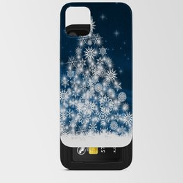 Blue Christmas Eve Snowflakes Winter Holiday iPhone Card Case