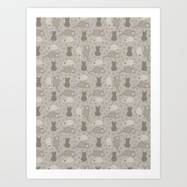 Grey and Brown Cat Stitched Mouse Vector Pattern Art Print