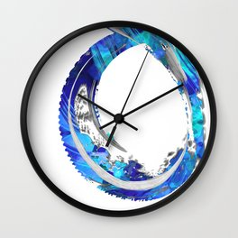 White And Blue Abstract Art - Swirling 4 - Sharon Cummings Wall Clock