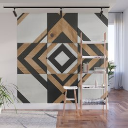 Modern Wood Art, Black and White Chevron Pattern Wall Mural
