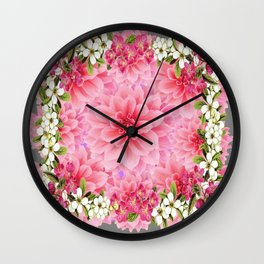 SPRING PINK GARDEN DESIGN GREY ART PATTERNS Wall Clock