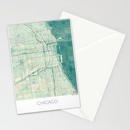 Chicago Map Blue Vintage Stationery Cards