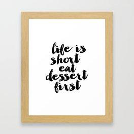 Life is Short Eat Dessert First Funny Kitchen Sign | Kitchen Art Print | Kitchen Printable | Kitchen Framed Art Print