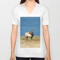 elk V-neck T-shirts featuring Elk by Becca Buecher
