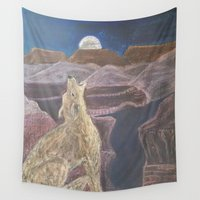 coyote Wall Tapestries featuring Coyote Sings Down the Moon by Brusling