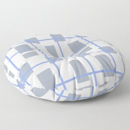 Retro Abstract Plaid Blue and Gray Floor Pillow