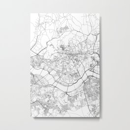 Seoul White Map Metal Print