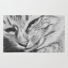 Pencil Drawing of Mr Cat Rug