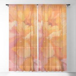 Orange Abstract Art Sheer Curtain