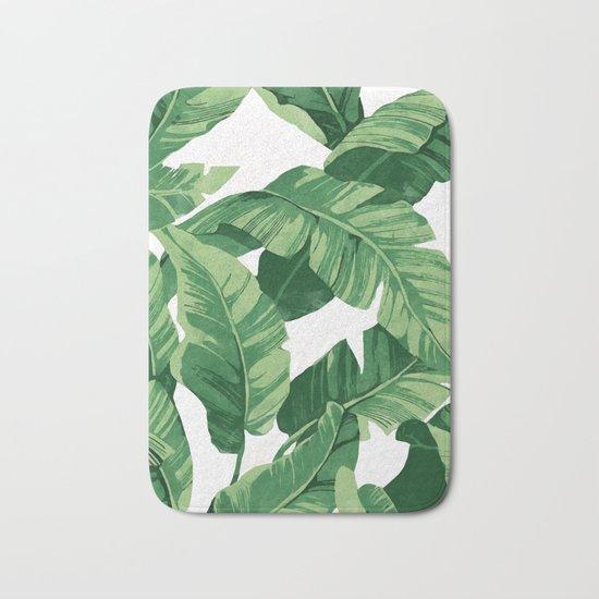 Tropical banana leaves IV Bath Mat