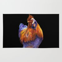 rooster Area & Throw Rugs featuring Rooster by Tim Jeffs Art
