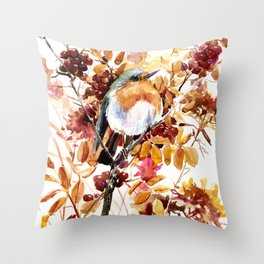 Robin Bird and Colors of Fall Throw Pillow