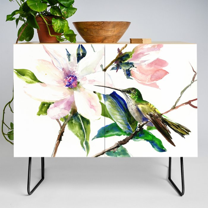 Vintage Inspired Classic Soft Pink Nursery: Hummingbird And Magnolia Flowers, Green Soft Pink Floral