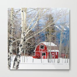 Montana Barn in Winter Metal Print