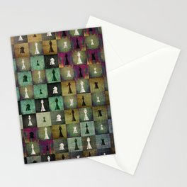 Paint and Print  Chessboard and Chess Pieces pattern Stationery Cards