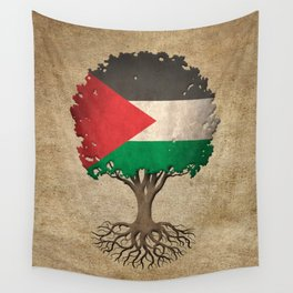 Vintage Tree of Life with Flag of Palestine Wall Tapestry