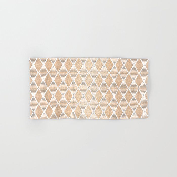 White and Copper Geometric Pattern Hand & Bath Towel