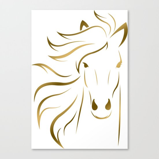 Golden Horse Drawing Canvas Print