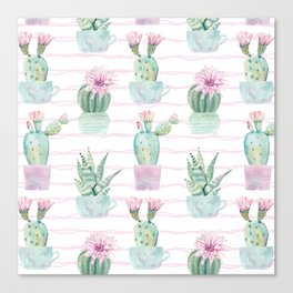 Cute Potted Cacti Stripe Pattern Canvas Print