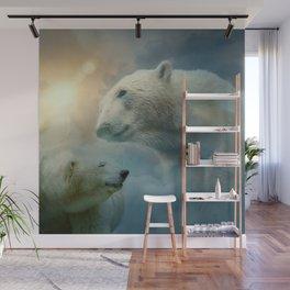 Polar Bears and Sky Wall Mural