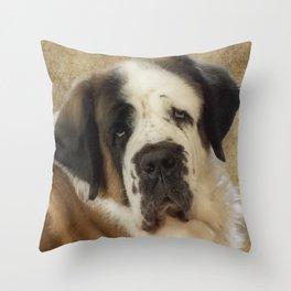 St Bernard dog portrait Throw Pillow