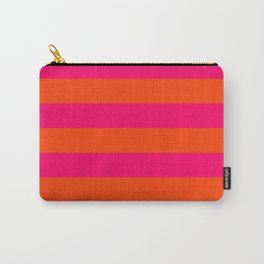 Bright Neon Pink and Orange Horizontal Cabana Tent Stripes Carry-All Pouch