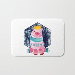 Cute Pink Bear Wearing a Crown Bath Mat