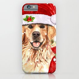 Golden Retriever Dog Christmas Holiday Gift iPhone Case