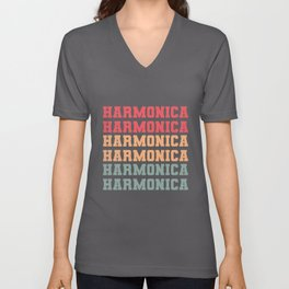 Vintage Harmonica Blues Music Retro Musician Band Unisex V-Neck