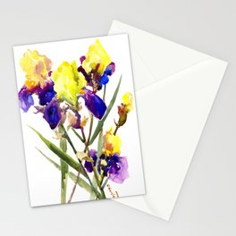 Garden Irises Floral Artwork Yellow Purple Blue Floral design Stationery Cards