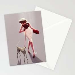 50s dogwalker  Stationery Cards