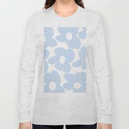 Large Baby Blue Retro Flowers White Background #decor #society6 #buyart Long Sleeve T-shirt