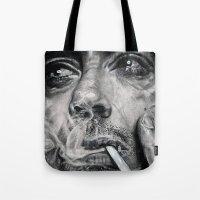 robert downey jr Tote Bags featuring Robert Downey JR by Luna Perri