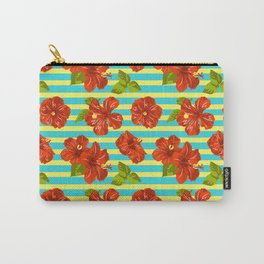Summer Red Hibiscus Seamless Pattern Carry-All Pouch