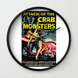Attack of the Crab Monsters, vintage horror movie poster Wall Clock